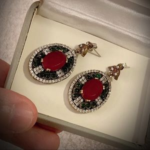 PIGEONS BLOOD RUBY EMERALD EARRINGS Solid 925/Gold